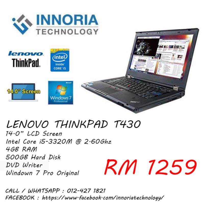 Lenovo Thinkpad T430 Laptop / Intel Core i5-3320M CPU / 14.0 LCD Screen / 500GB Hard Disk / 4GB Ram / DVD Writer / Windown 7 / Refurbished Malaysia