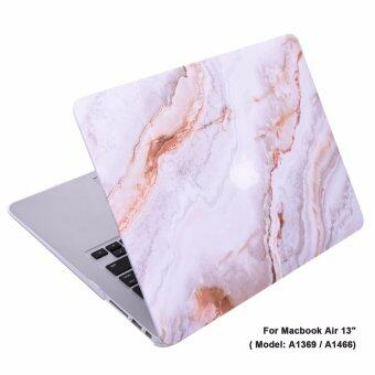 "Lightning Power-Rubberized Plastic Hard Shell Cover Case forMacBook (Macbook Air 13"" (A1369 / A1466), White Orange MarblePattern)"