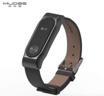 Mijobs Replacement Leather Wrist Band Strap for Xiaomi Mi Band 2 Smart Bracelet