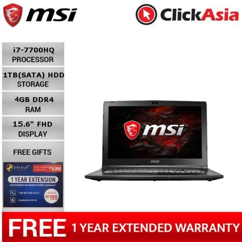 MSI GL62M 7RDX-2605 15.6 FHD Gaming Laptop Black (I7-7700HQ, 4GB, 1TB, NV GTX1050 4GB, W10) + Shieldcare Malaysia