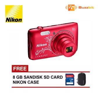 Nikon A300 Coolpix Camera (Decorative Red) + 8GB + Case