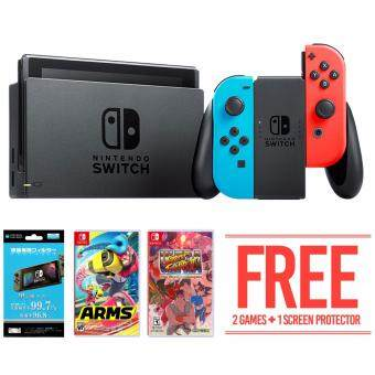 Nintendo Switch Neon Joy-Con Bundle + 2 FREE Games & FREE HORI Screen Protector