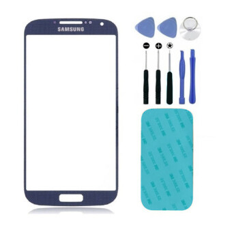 Harga Replacement Blue Front Screen Glass Lens for Samsung Galaxy S4i9500 + Tool + 3M Replacement Part