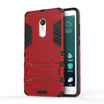 Solid PC + TPU Combo Case with Kickstand for Xiaomi Redmi Note 4 -Red