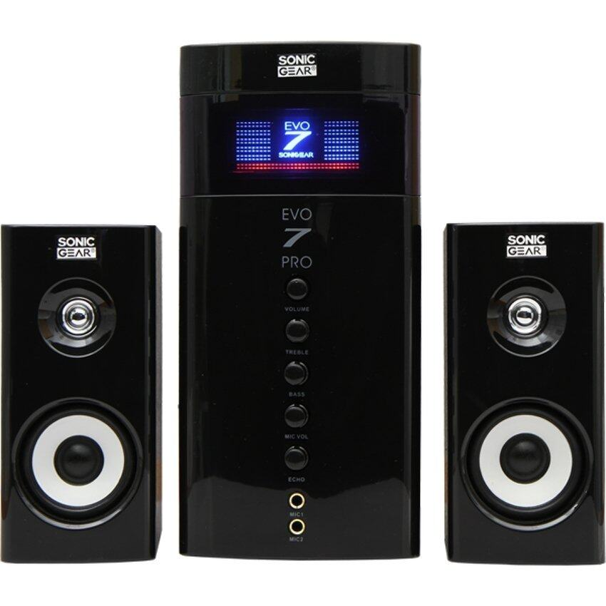Sonic Gear Evo 7 Pro 2.1 Channel PC Speakers 2.1 New Model with Bluetooth , FM Radio , SD Slot , USB Slot , Aux Input Malaysia