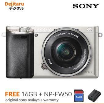 Sony A6000 w/16-50mm Mirrorless Digital Camera Silver (Sony Malaysia Warranty)