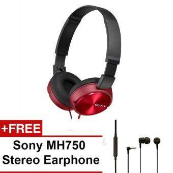 Harga Sony MDR-ZX310BC(CN) Sound Monitor On-Ear Headphone (Red) + SonyMH750 Earphone (Black)