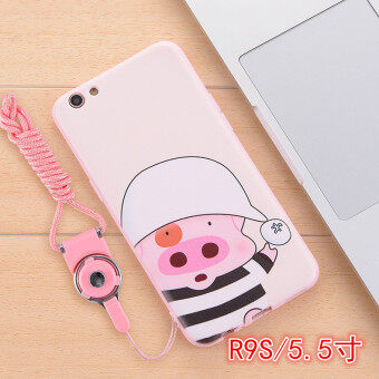 Springbok loose oppo r9s R9S lanyard sets drop resistance silicone soft phone shell protective sleeve influx of women lovely pink cartoon
