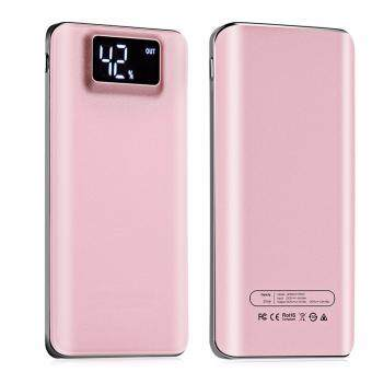 Super Slim Digital 20000mAh Power Bank Big Capacity Mobile Power Bank External Battery Dual USB Port with LCD Power Display Screen Ultra Slim Powerbank (Pink)