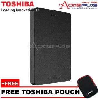 Toshiba 1TB Canvio Alumy Metal Chassic USB3.0 Portable Hard Drive -Black + Free Pouch