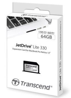 "Transcend Jet Drive Lite 330 (Memory Card) 64GB for Macbook ProRetina 13\"""