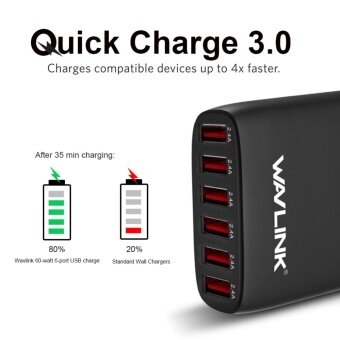 Wavlink 6 Ports 60W/12A High Speed USB 3.0 Wall Charger &Portable , Adapter / Desktop Charging Station with Detachable PowerCord-UK Plug