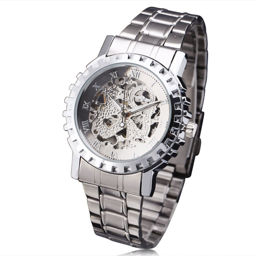 YxgF MALL WINNER Men Luxury Automatic Mechanical Wrist Watch Jam Tangan Stainless-steel Strap Skeleton