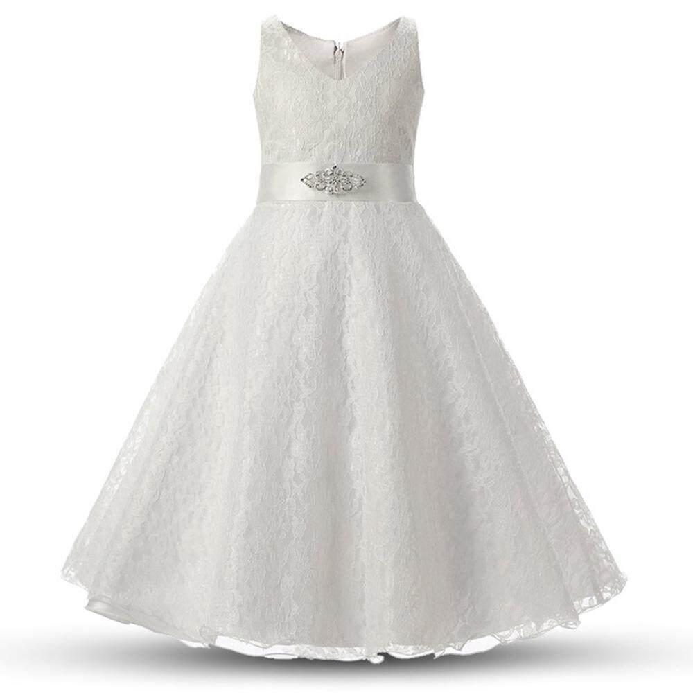 Mudah Menyenangkan Gaun Perempuan Tanpa Lengan Formal Putri Pesta Pernikahan Malam Hari Panjang Gaun Renda Anak Anak