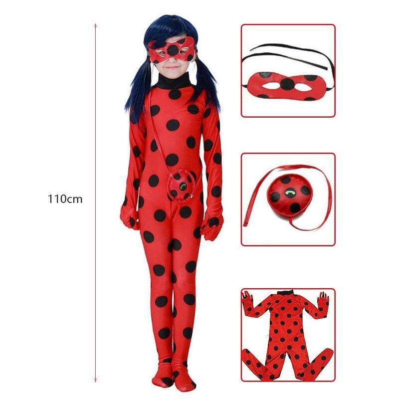 Girls Cartoon Ladybug Cosplay Costume /& Mask /& Bag Jumpsuit Tight Fancy Dress