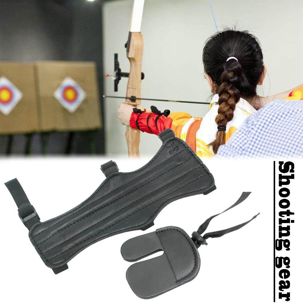 3 Strap Dual PU Medium Length 22cm Shooting Archery Black Arm guards Protection