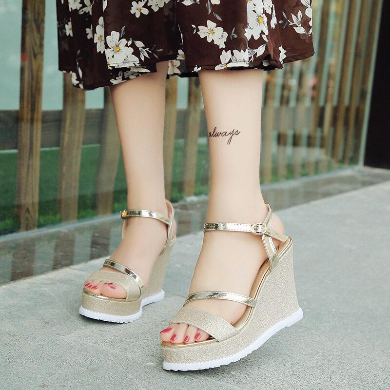 Nis Women Wedge High Heel Sandals Ankle