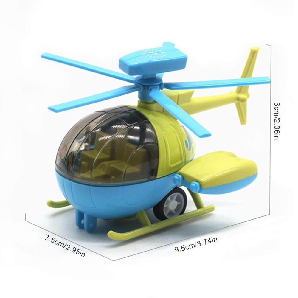 Vayu 1Pcs Kartun Q Versi Paduan Pullback Model Pesawat Penumpang Pesawat Helikopter Model Tempur Kotak Jendela