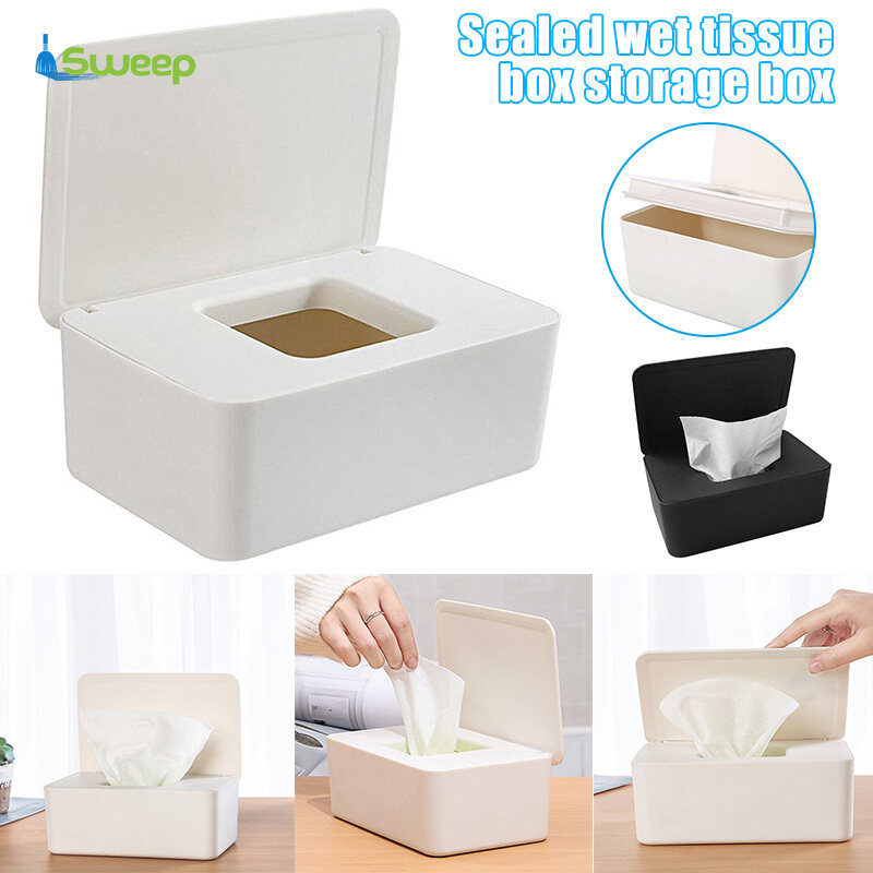 Wipes Dispenser Box,Baby Nappy Wet Tissue Box Holder Keeps Wipes Fresh with Lid Seal Easy Open /& Close Wipe Container for Home Office
