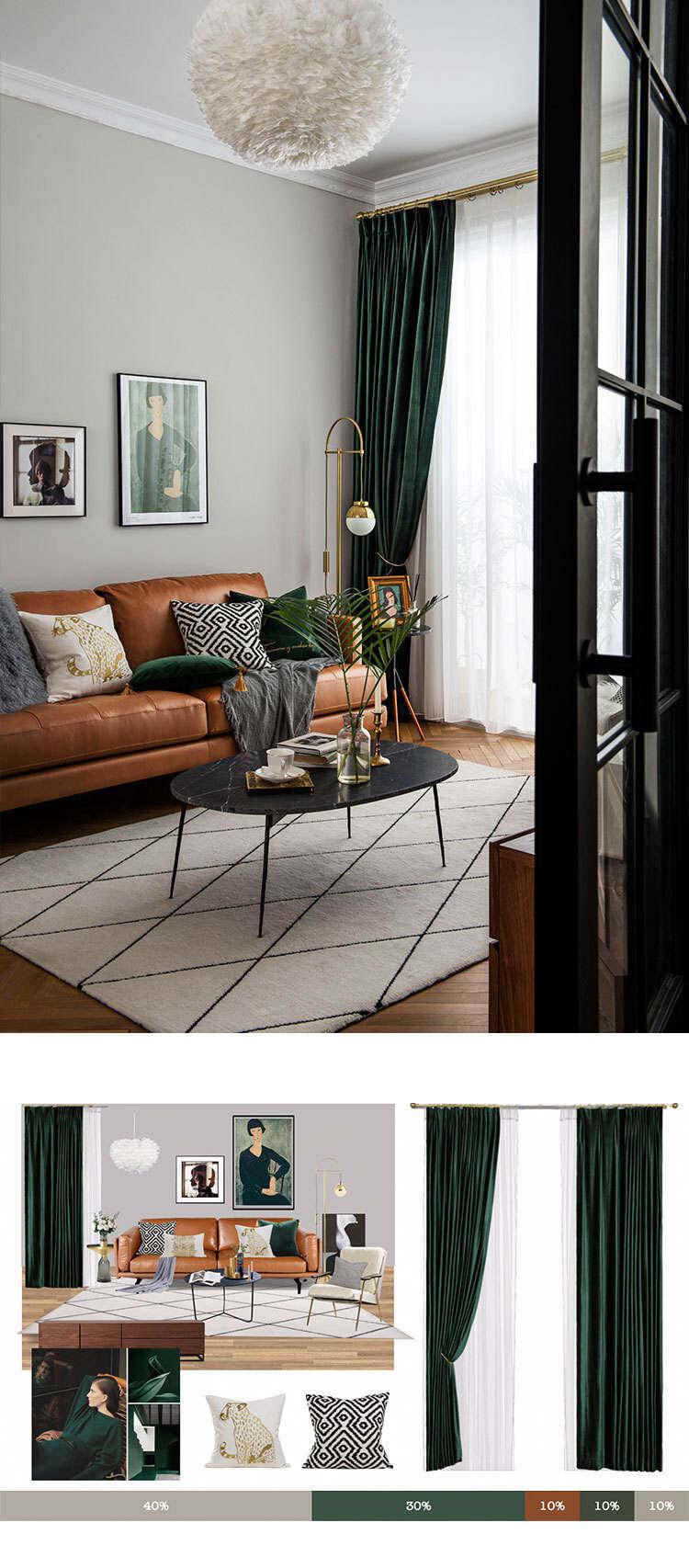 Nordic Velvet Curtains Dark Green Velvet Curtains Blaclout Curtains Solid Color Curtains For Bedroom Living Room Dining Room Lazada Singapore