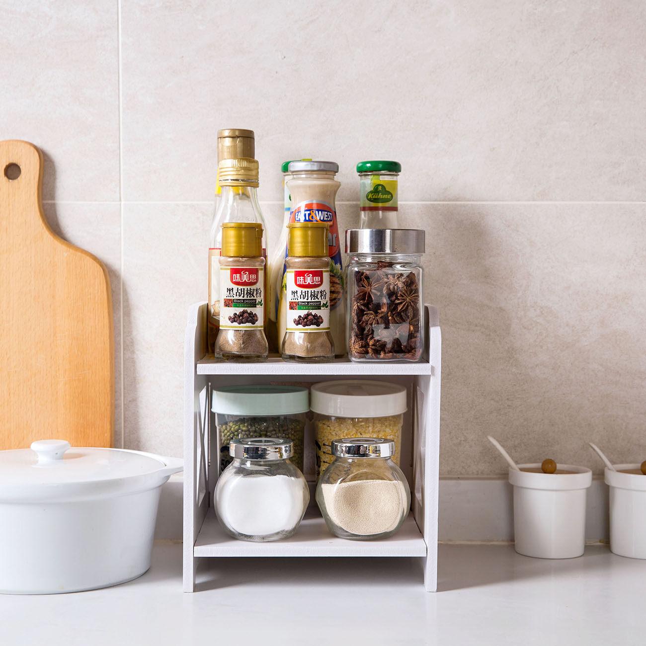 Wood Desktop Shelf Bathroom Storage