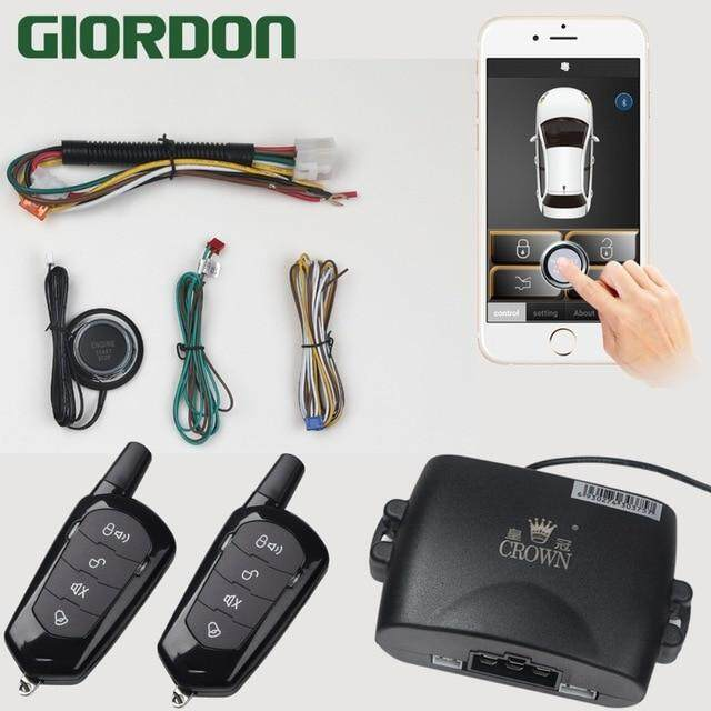 Mobile Phone Remote Start car Alarm System With 2-Remote Control 80-100M  Shake Switch Lock Keyless Entry PKE Start Stop DHKJ Store