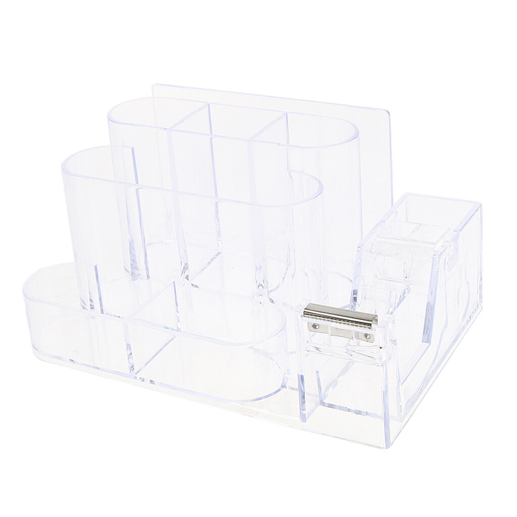 Loviver Office Acrylic Clear Desk Accessories Organizer Caddy Supply  Storage business name card/ notes/ tape Holder