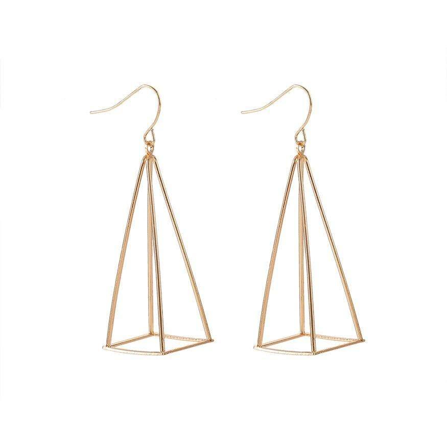 Top Deals 3d Pyramid Triangle Piercing Ear Drop Earrin Fashion Jewelry Gift For Women