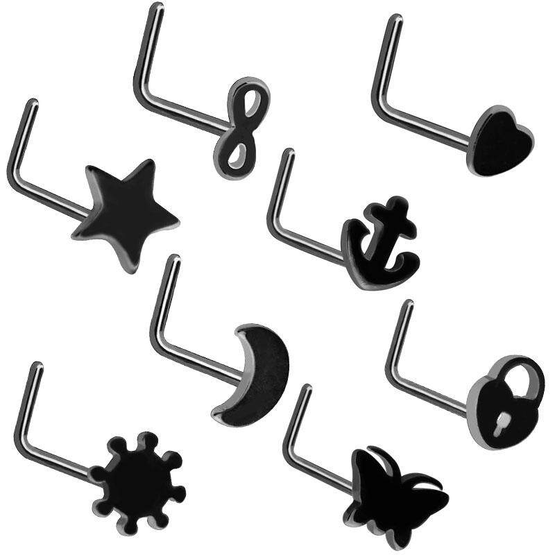 8pcs Lots Stainless Steel Fashion Nose Rings L Shape Nose Stud