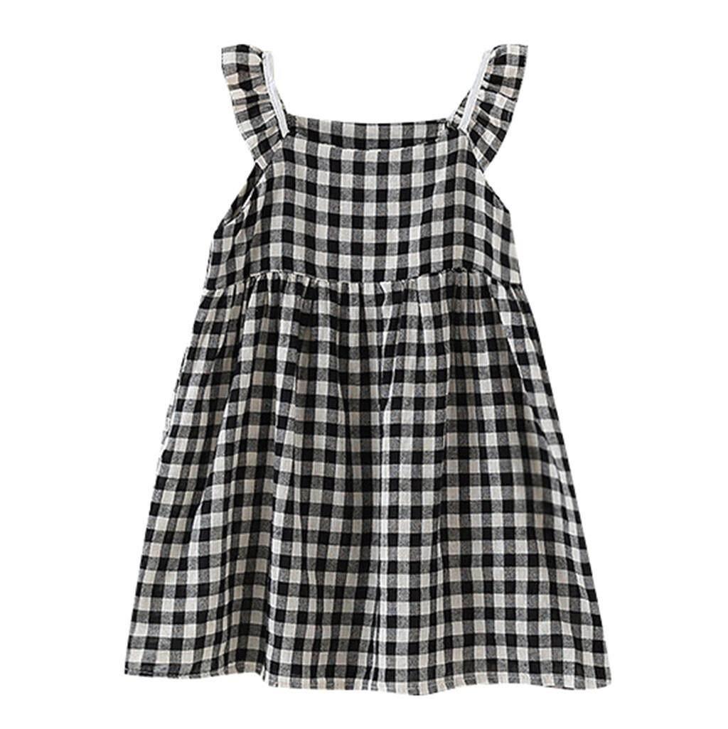 9c4a367f4606e Z-Toddler Kids Baby Girls Ruffle Plaid Elegant Princess Casual Dress  Clothes-Free shipping