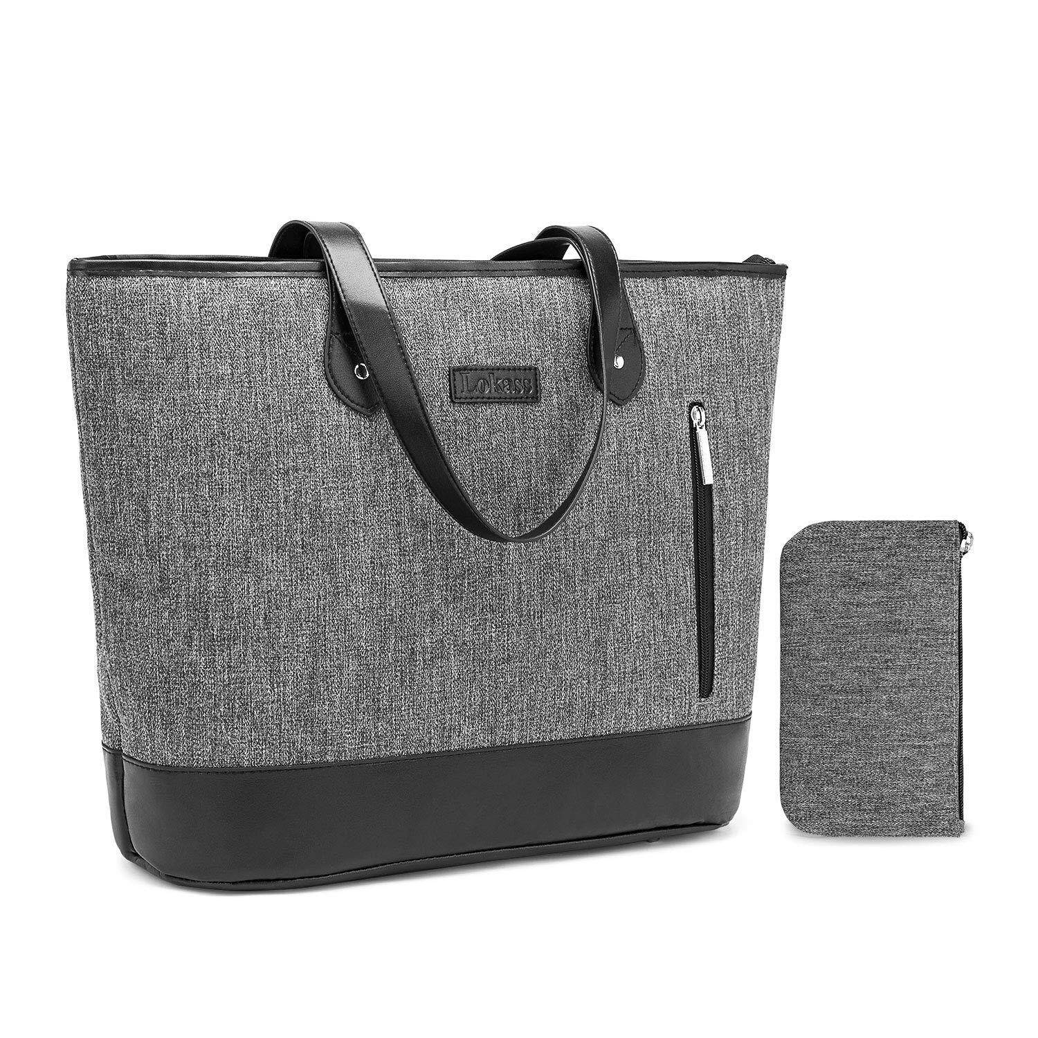 4ada9c53290 Laptop Tote Bag DTBG 15.6 Inches Women Shoulder Bag Nylon Briefcase Casual  Handbag Lightweight Laptop Case for Work Business Shopping Travel(Grey)