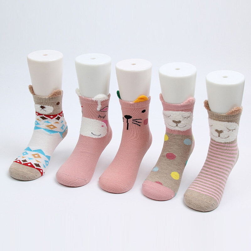 Cartoon Winter 5 Pairs Warm Thick Children/'s Socks NewBorn Cotton Baby Socks