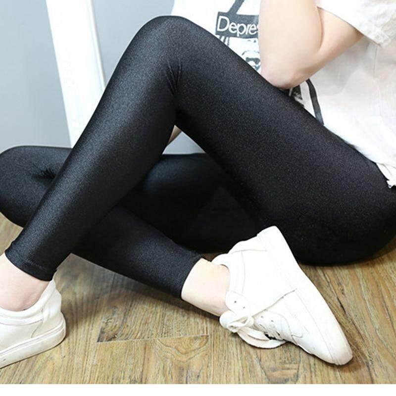 35c3a63ba35a6 Women Shiny Black Legging Autumn Ladies Push Up Slim Leggings High ...