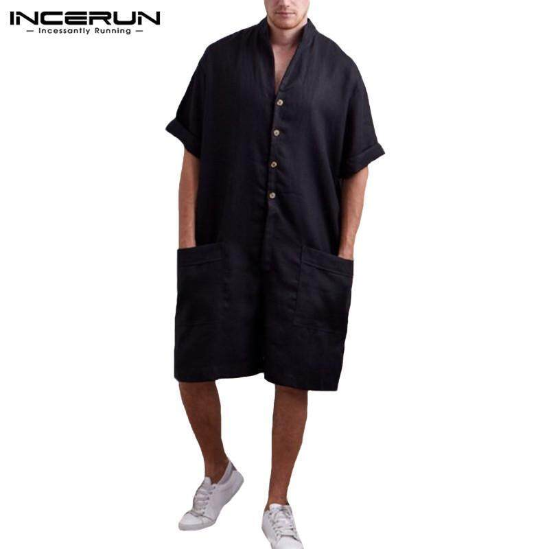 c98a8202d84 Product details of INCERUN Men Cotton Baggy Short Sleeve Pant One-Piece  Suits Jumpsuit Playsuits Romper New