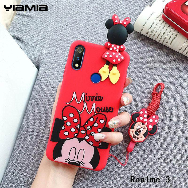 Yiamia Cartoon Cute Disney Mickey Minnie Phone Case For OPPO Realme 3 Soft  TPU Back Cover Case With Neck Lanyard For Realme 3