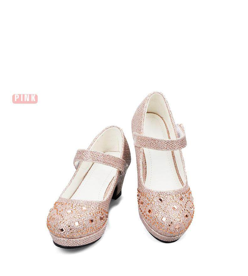 845e393a7c Children Princess Shoes for Girls Sandals High Heel Glitter Shiny  Rhinestone Enfants Fille Female Party Dress Shoes