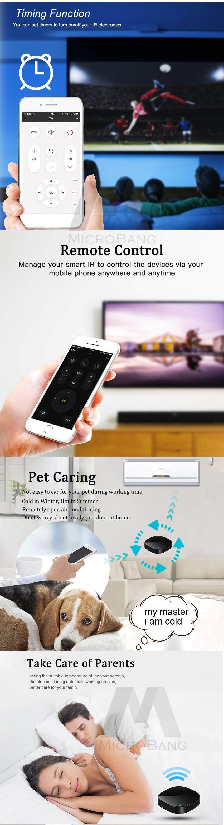 MicroBang WiFi Smart Home Control, Smart IR,TV Remote Controller, Make Your  Home Smart Through WiFi, Universal IR Remote Compatible with Alexa and