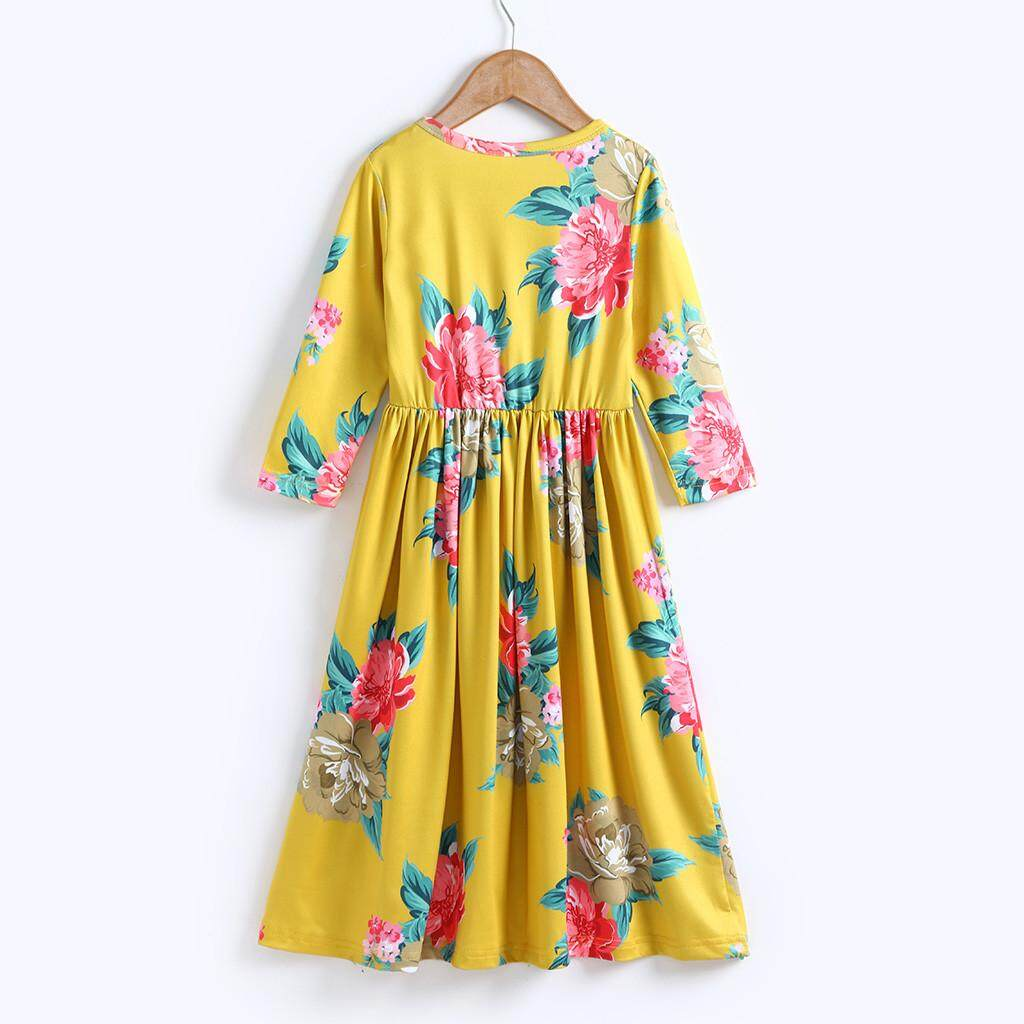 c54fbe4067 Toddler Baby Girl Kids 3 4 Sleeve Floral Pleated Casual Princess Long Maxi  Dress
