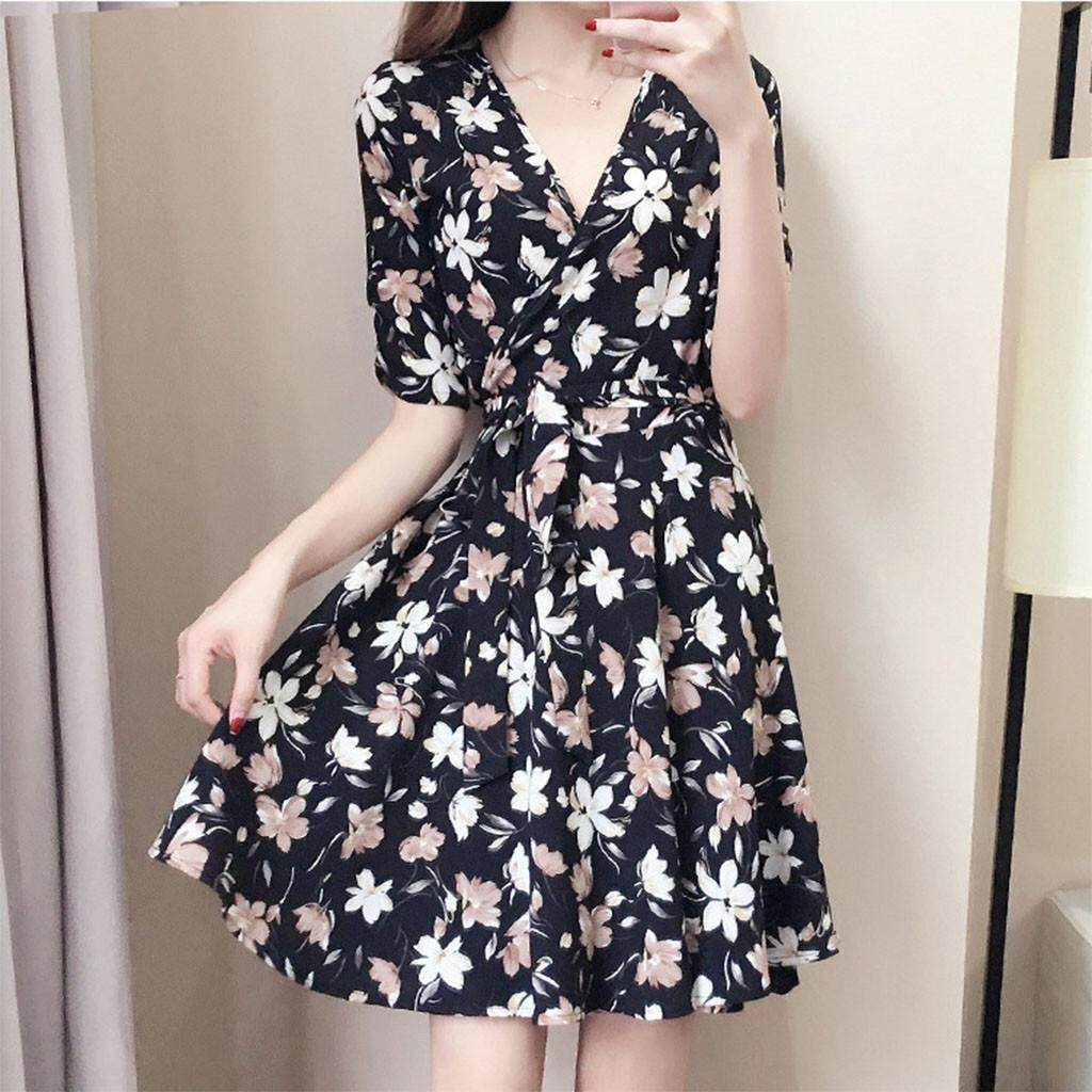 Tikstore New Women Fashion Ready Stock Flower Defined Wasit Belt V-neck 3/4  Sleeve Dress