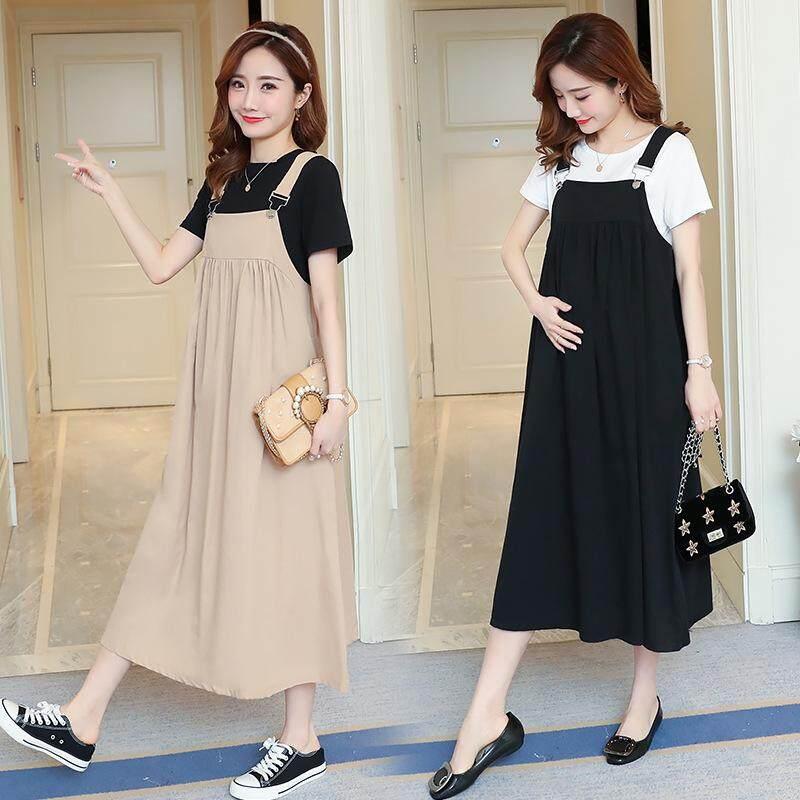 31843ed2b65 Maternity dress 2pcs set strap loose pregnant women s dress + short ...