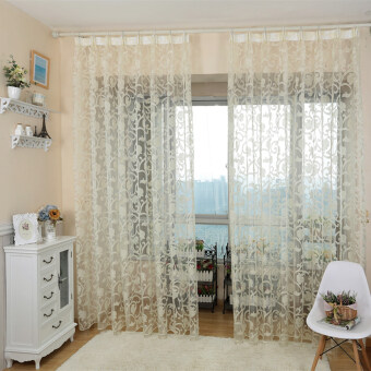 Harga 1 pcs European style jacquard design sheer panel tulle curtain for living room and balcony cream