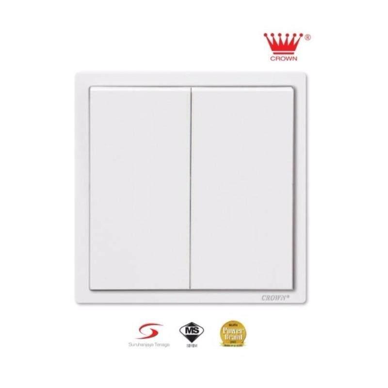 Buy 10pcs - Crown CM Series 2 Gang 1 Way Flush Switch (White) CM5021 Malaysia