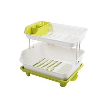 2 Layer Draining Board   Dish Drying Rack (Green)