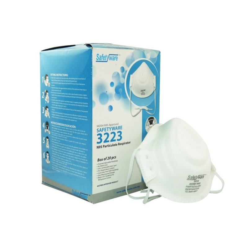 Buy 20 pcs of Safetyware NIOSH N95 Series 3223 Particulate Respirator (white) Malaysia