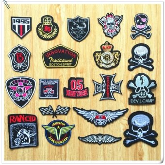 20pcs/lot Sewing Clothes Badge Patch Iron on Embroidery PatchesHotfix Applique Motifs Sew on Garment Stickers Skull Wing Flag