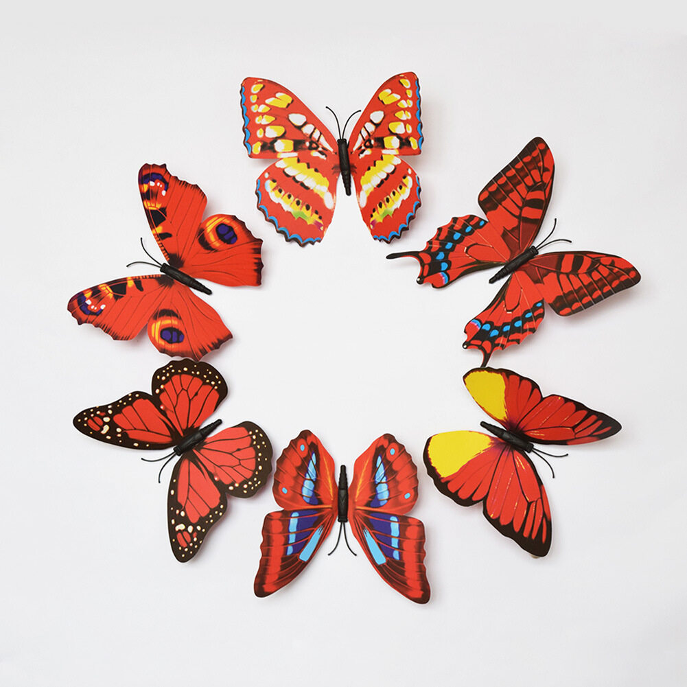 24 Pcs 3D Butterfly Wall Stickers (Red) | Lazada Malaysia Part 51