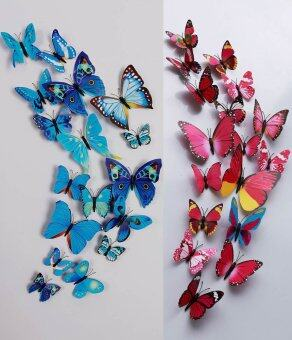 24pcs 3D Butterfly Wall Sticker Fridge Magnets (Blue And Hotpink) Part 97