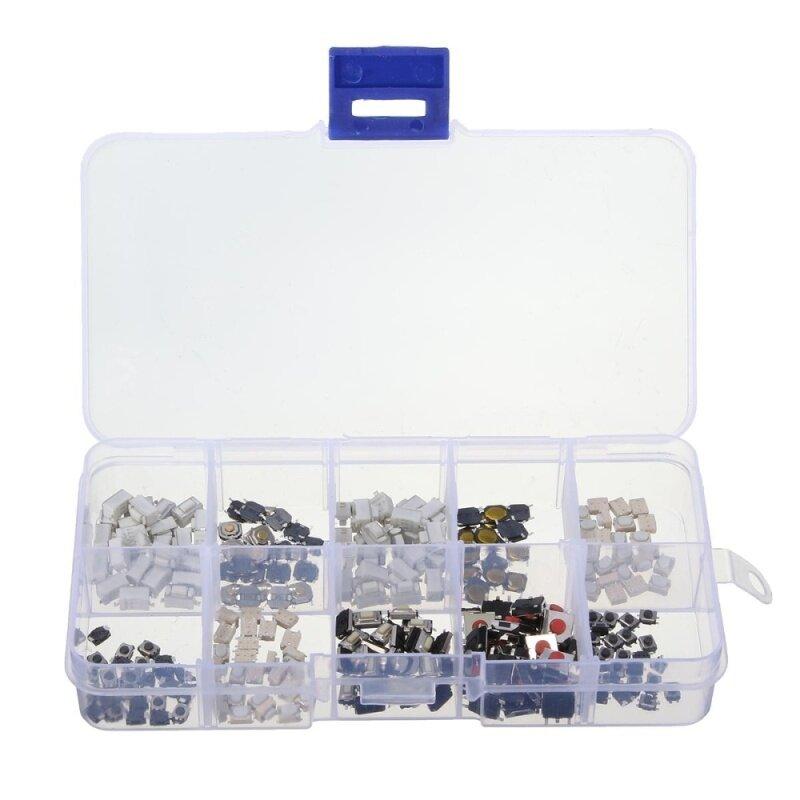 250pcs 10 Types Tactile Push Switch Car Keys Remote Button Microswitch + Box