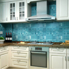 2m Wall Paper Mosaic Aluminum Foil Self Adhensive Anti Oil Wallpaper For  Kitchen High Temperature Resistant Mosaic (Blue)