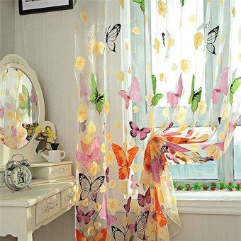 2PCS Floral Butterfly Sheer Curtains Sheers Voile Tulle WindowCurtain (Size: 200x100cm, Color: Multicolor) - 2